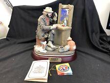 Emmett Kelly Jr figurine by Flambro Making Up w/base, SIGNED!