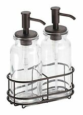 MDesign Double Bathroom Accessory Sets Soap And Lotion Dispenser Pump Caddy For