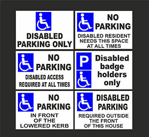 DISABLED NO PARKING A5 signs or stickers Badge Holders Only Lowered Kerb Access