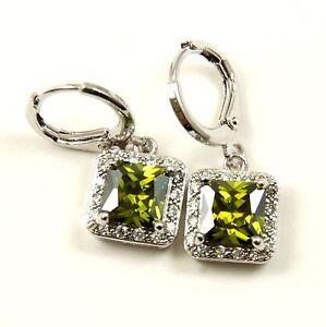 Women's White Gold Plated Green Crystal drop dangle Earrings
