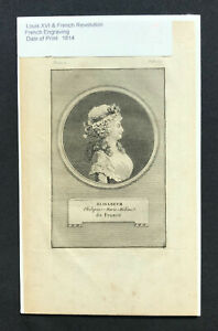 steel engraving 1814 Louis XVI French Revolution Marie Therese-Charlotte 4 set