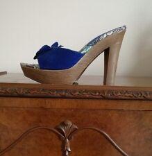 Farasion Blue Faux Suede Floral Platform Mules Heels UK5 EU38 Fabulous!