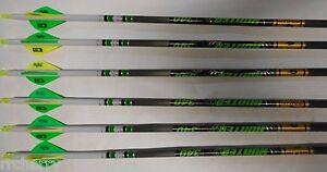 6 Gold Tip XT Hunter 7595 340 Carbon Arrows Custom White Dip Crest/Blazer Vanes