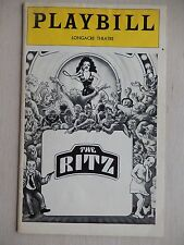 Dec. 1975 - Longacre Theatre Playbill - The Ritz - Stubby Kaye - June Gable