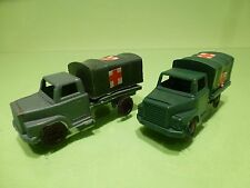 PLASTIC TRUCK - 2x MILITARY AMBULANCE - ARMY GREEN L7.5cm - GOOD CONDITION