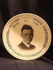 Assiette commémorative de la traversée atlantique en avion par Lindbergh 1927