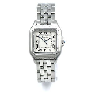 VINTAGE CARTIER JUMBO PANTHERE 1300 DATE WRISTWATCH STAINLESS STEEL QUARTZ 30MM