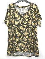 LuLaRoe Womens Brown V Neck Short Sleeve Overall Print Shirt Stretch Size 3XL