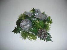 NEUF 2.5cm argenté brillant pointsettia / Pomme Noël Bougie anneau décoration