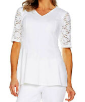 NWOT Denim & Co Flit Flare Stretch Lace Elbow Sleeves V Neck Top White Plus 2X