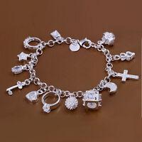 925 Sterling Silver Plated Lovely  Chain Bracelet w/ 13 Charms Bracelet Bangle