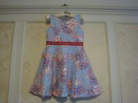 NWT Janie And Jack Girls  FLORAL STRIPE PONTE DRESS  10  Sky Blue