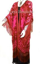 Scarlet Red Kimono Opera Coat Caftan Duster Silk Burnout Velvet Maya Matazaro