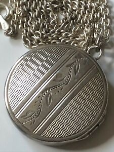Vintage sterling silver round engraved locket and '925' chain necklace 14.46g