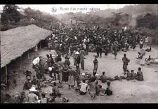 VILLAGE (CONGO BELGE) TRAIN & Marché INDIGENE animé vers 1930