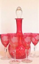 Crystal Decanter and 6 Wine Stems with Etched Grape Pattern