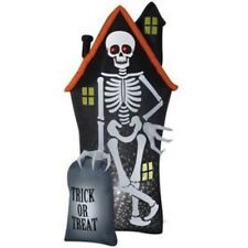 New 8ft Halloween Skeleton with Haunted House & Tombstone Light-up Inflatable
