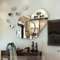 1 Set Removable 3D Wall Sticker Mirror Love Hearts Decal Home DIY Art Decor