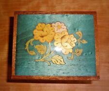 """Light Green Wood Lacquered Floral Inlay Music Box Plays """"Return to Sorrento"""""""