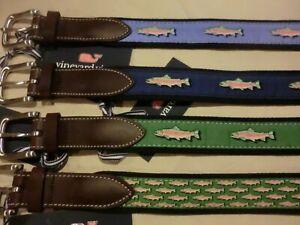 "Vineyard Vines ""Rainbow Trout"" Canvas Club Belts, NWT* - 34 - Mini + Placed"
