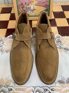 MEZLAN Ewan Tan  Suede Monk Strap Ankle Boots Shoes Size 10 M