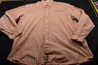 Ben Sherman Orange Blue White Plaid Xl Long Sleeve Button Men's Shirt