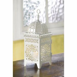 White Iron Candle Lantern w/ Floral Filigree Scrollwork Moroccan Style