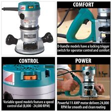 Makita Corded Router 11 Amp 2-1/4 HP Variable Speed Control Quite Low Vibration!