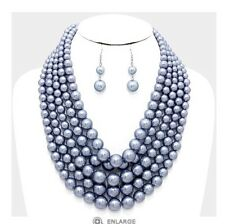 Chunky Silver Gray Pearl Long Bib Multi Layered Strand Bead Necklace Set
