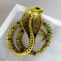 Snake brooch gold plate green crystal rhinestone vintage style Cobra in gift box