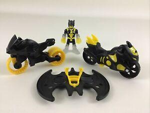 Imaginext DC Super Friends Batman 4pc Lot Black Yellow Motorcycles Wings Figure