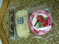 Sets  Handmade  Scented Strawberry Bar Soap and Luffa  Aroma Glycerin 50 g.