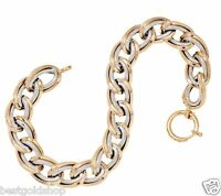 Textured Double Curb Bracelet Real 14K Yellow White Two-Tone Gold QVC  14 Grams