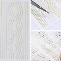 Gold Metall 3D Nagel Aufkleber Streifen Lini Nail Art Klebstoff Transfer Sticker