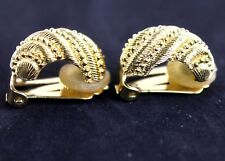 100% Authentic Christian Dior Clip On Ear Ring Gold Tone Made in Germany 6 gm