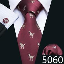 USA Mens Tie Silk Animal Red Blue Green Burgundy Gray Tie Set Necktie Christmas