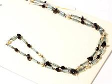 "Vintage 30"" Czech wired necklace faux pearl black faceted glass beads"