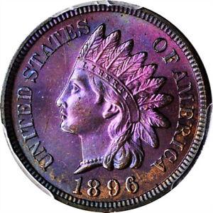 1896 Indian Head Cent PCGS PR66BN CAC Insane Neon Toning!