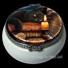 THE WITCHING HOUR Black Cat Art Mini Ceramic Trinket Box By Lisa Parker (5.5cm)
