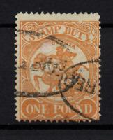 Victoria State 1884 £1 orange Revenue fine used SG262 P12 WS22592