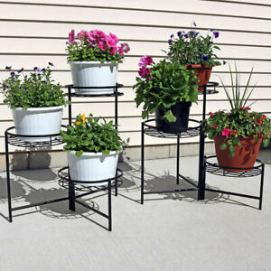 """Sunnydaze Black Three Tiered Indoor Outdoor Flower Plant Stand 22"""" - Set of Two"""