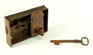 """~ Antique 1700's Wrought Hand Forged Iron Door Mortise Lock & Skeleton Key 5"""""""