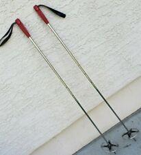 """Vintage 1960s Metal Ski Poles Leather  Straps 44"""" Tall"""