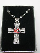 "Vintage Pewter Cross Red Enamel Dove Pendant & Necklace 24"" Chain NOS"