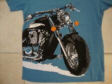 AFRA Clothing Motorcycle Bike Artwork Soft Light Blue T Shirt M