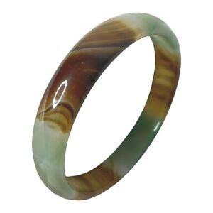 """Glass Art Slip On Bangle Style Bracelet Green Brown Color Gradient Jewelry 10"""""""