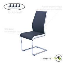 Chaise de salle à manger coloris noir métal chromeé en pack de 4