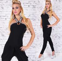 Damen Overall Einteiler Catsuit Jumpsuit Neckholder Schmucksteine Hosenanzug