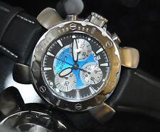 Invicta Men's Rare Lupah Swiss Chronograph Blue Dial Black Leather Watch 3170