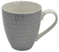 Set of 4 Jumbo Large Mugs 500ml Latte Coffee Soup Mug Bone China Grey Geometric